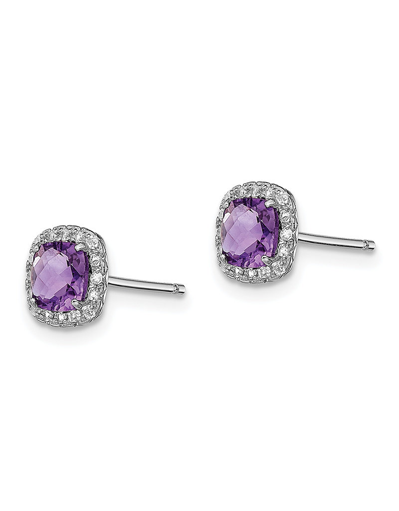 Sterling Silver Amethyst and White Sapphire Stud Earrings