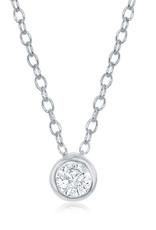 Sterling Silver 5mm Bezel Set CZ Necklace
