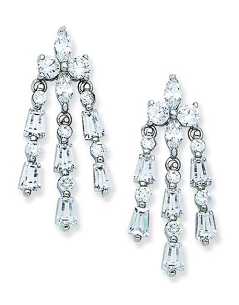 Multi Shape CZ Drop Earrings