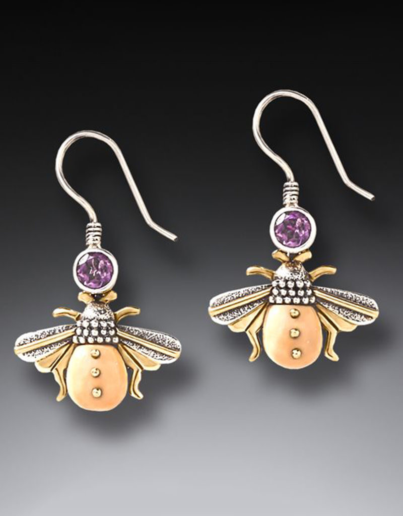 ZEALANDIA Sterling Silver Ancient Walrus Ivory and Amethyst Bee Earrings