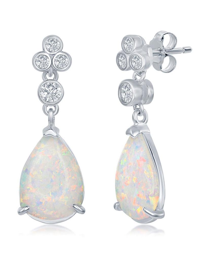 Teardrop Opal and CZ Earrings