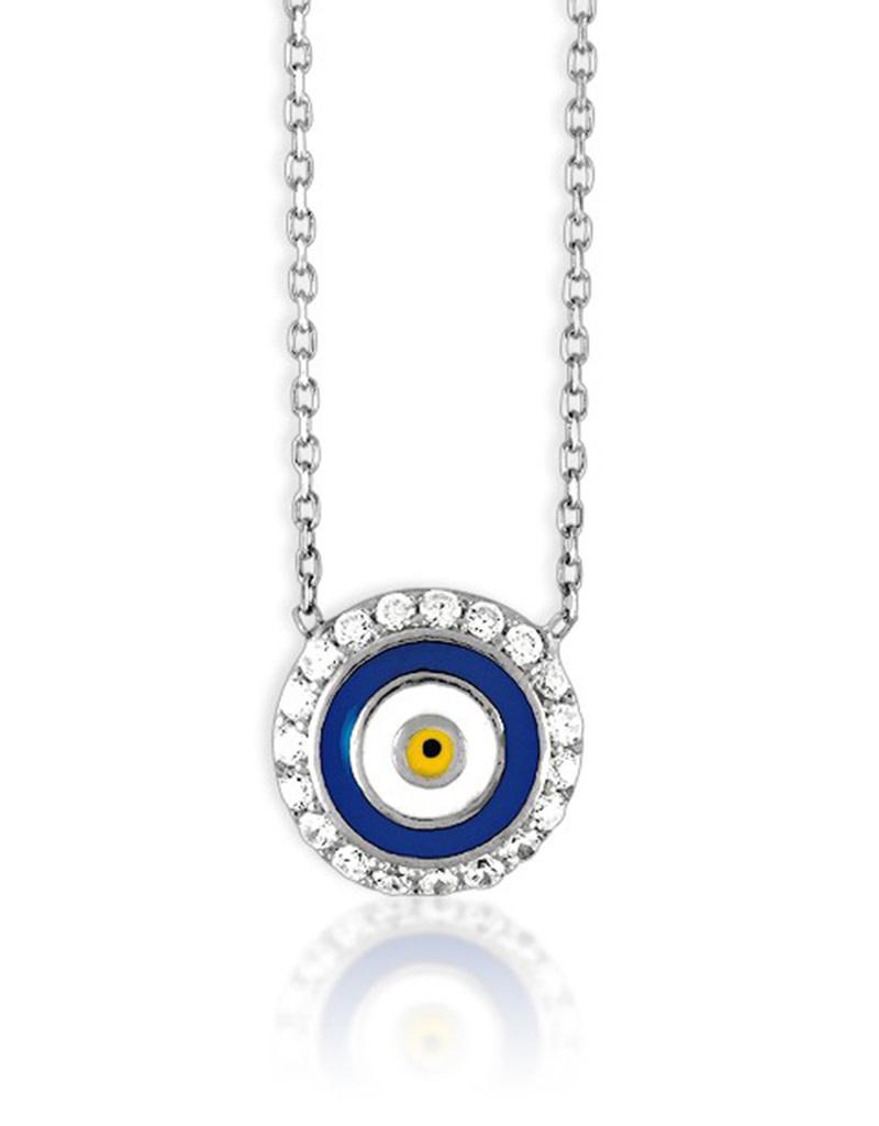 "Round Evil Eye CZ Necklace 16""+2"""