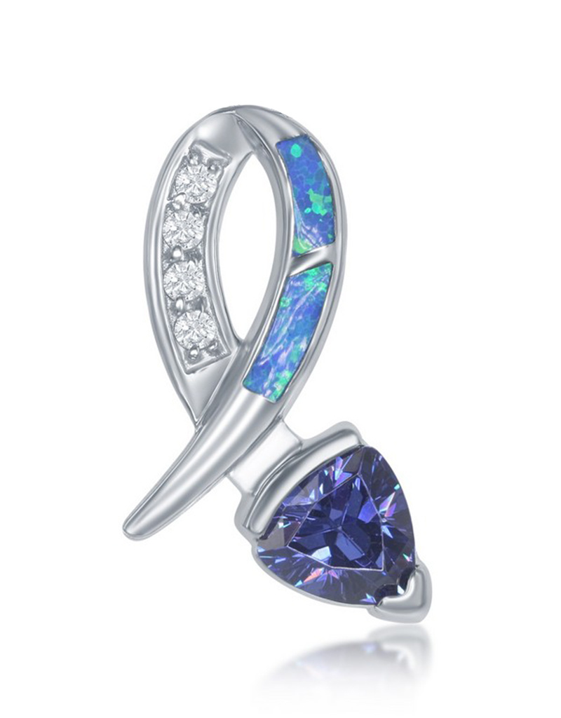 Blue Inlay Opal with Blue CZ Pendant