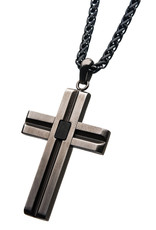 Men's Antique Stainless Steel Cross Necklace