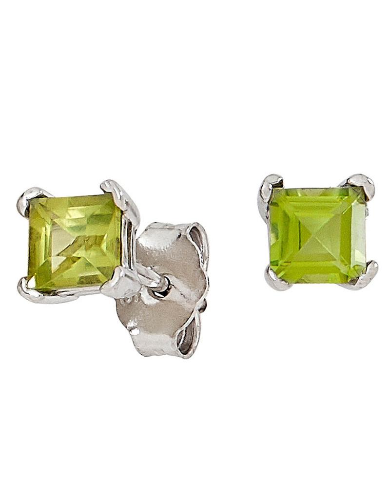 Square Peridot Stud Earrings