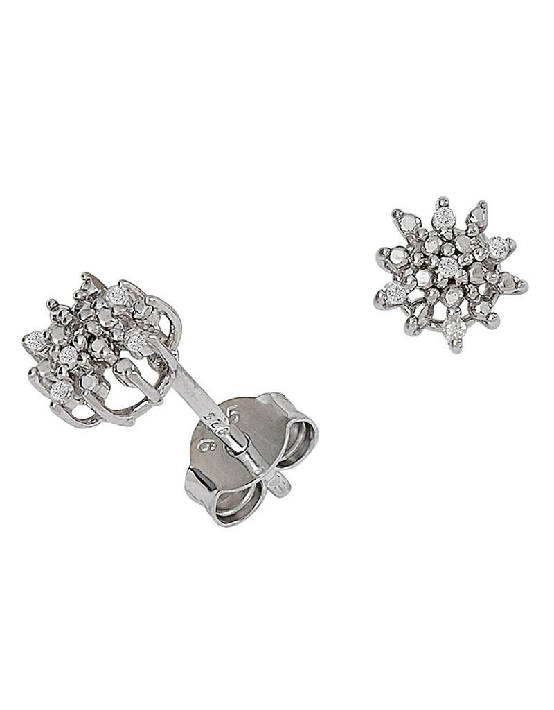 Snowflake Diamond Post Earrings