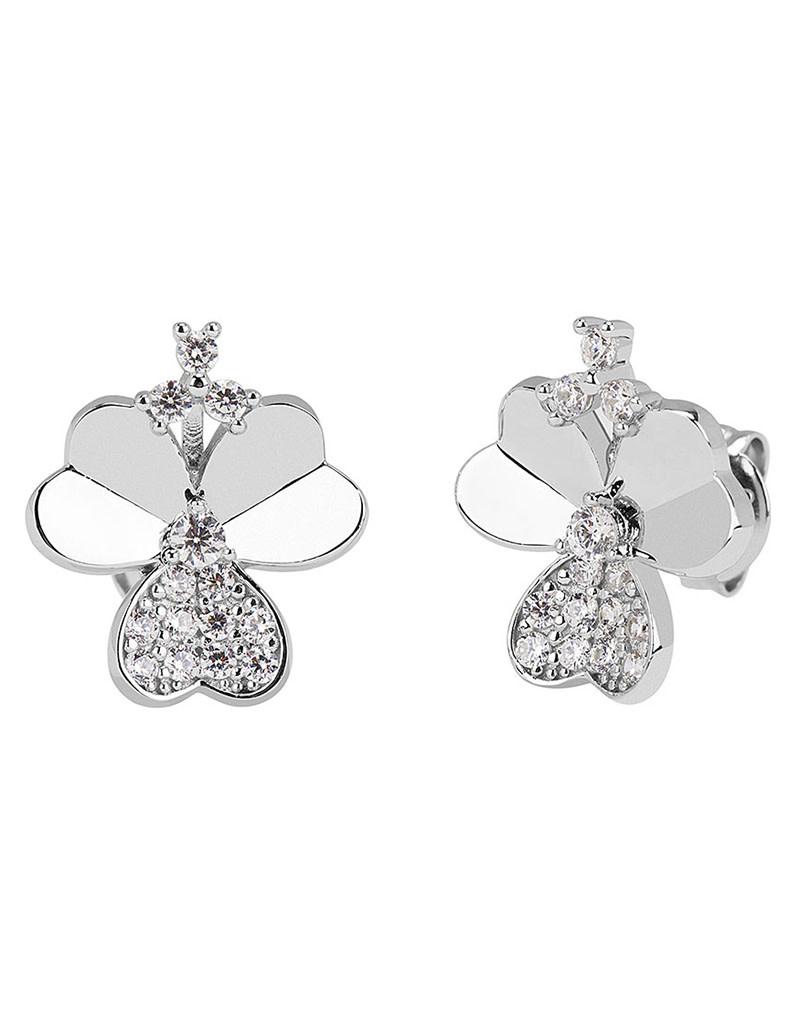 CZ Clover Leaf Stud Earrings
