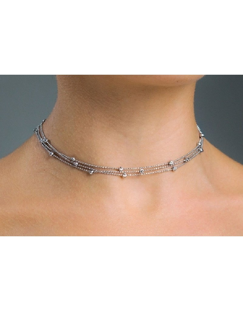 "Sterling Silver 3-Strand D/C Bead Choker 13""+3"""