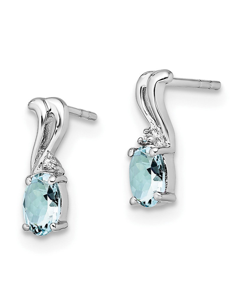 Sterling Silver Oval Aquamarine & Diamond Earrings