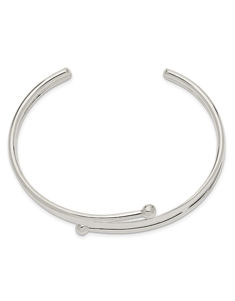 Sterling Silver 3-Band Overlap Cuff Bracelet