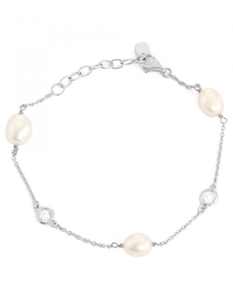 "Pearl & CZ Chain Bracelet 7.5""+1"""