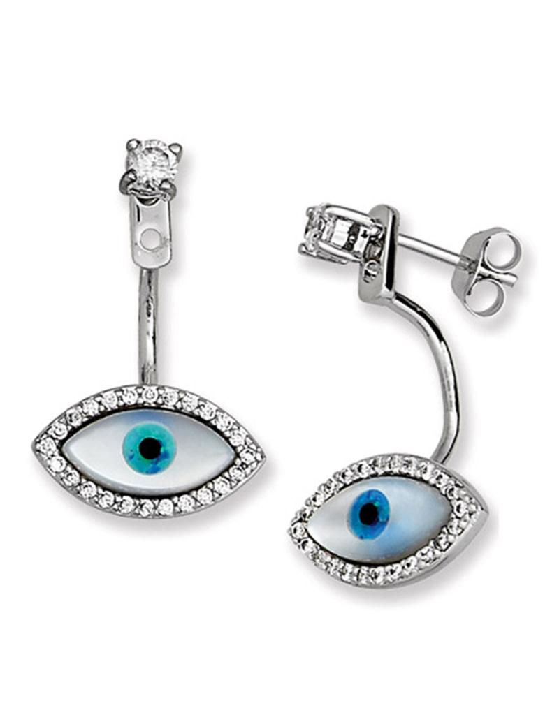 Evil Eye MOP Post Earrings