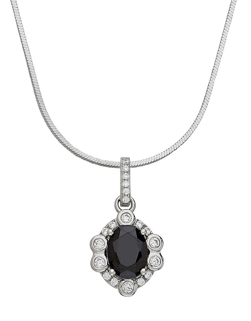 Black CZ Rosette Design Necklace