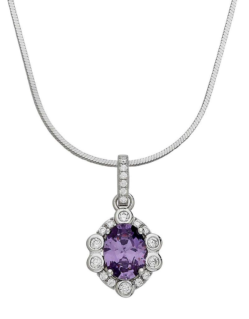 Amethyst CZ Rosette Design Necklace