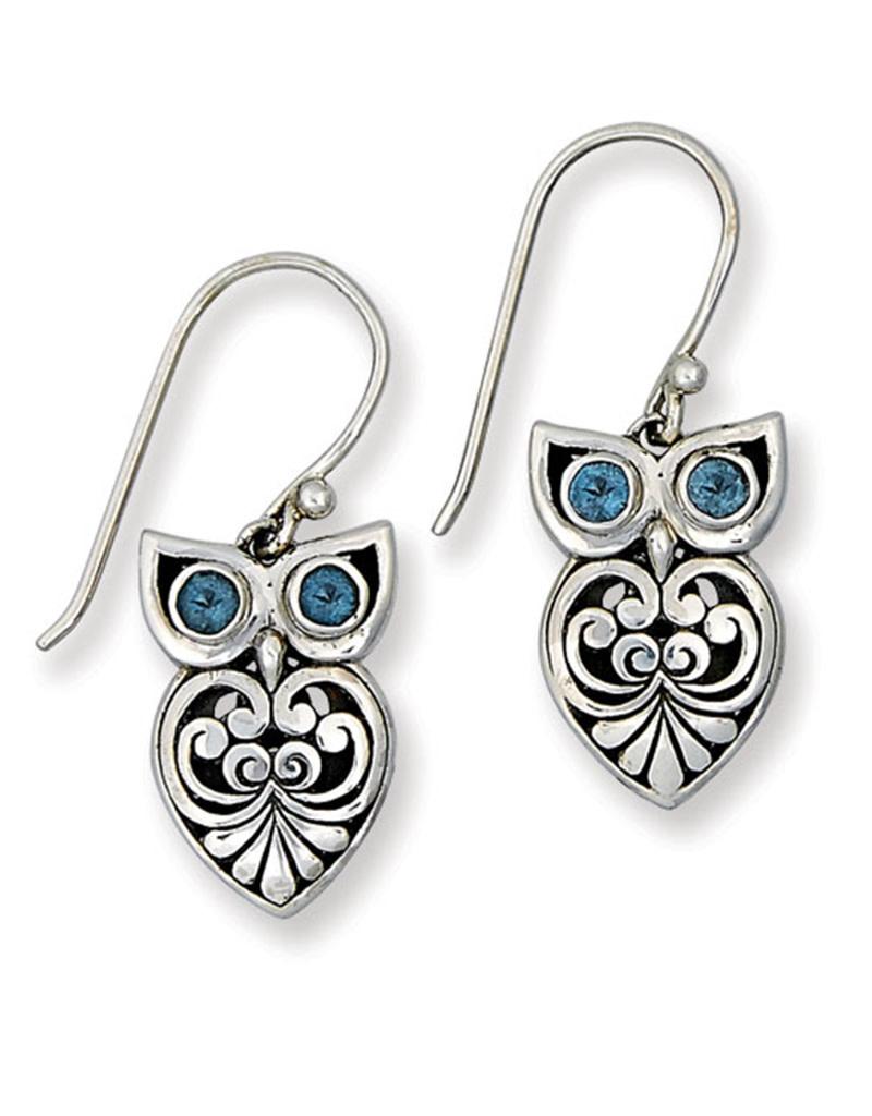 Blue Topaz Owl Earrings