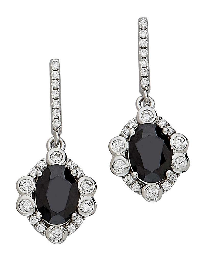 Black CZ Rosette Design Earrings