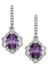 Sterling Silver Amethyst CZ Rosette Design Dangle Earrings