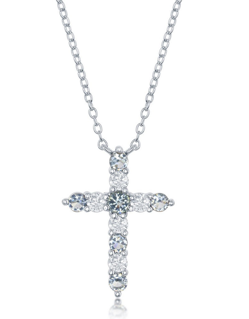 Sterling Silver Aquamarine CZ Cross Necklace