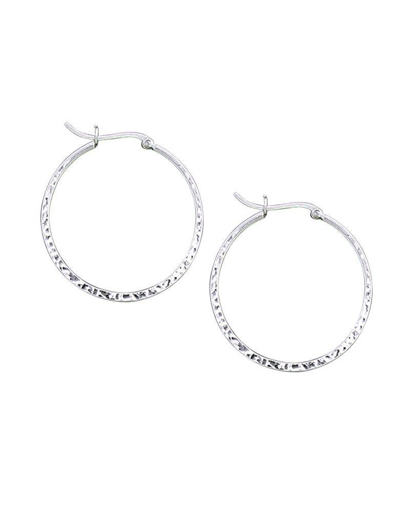 Sterling Silver Hammered Hoop Earrings 36mm