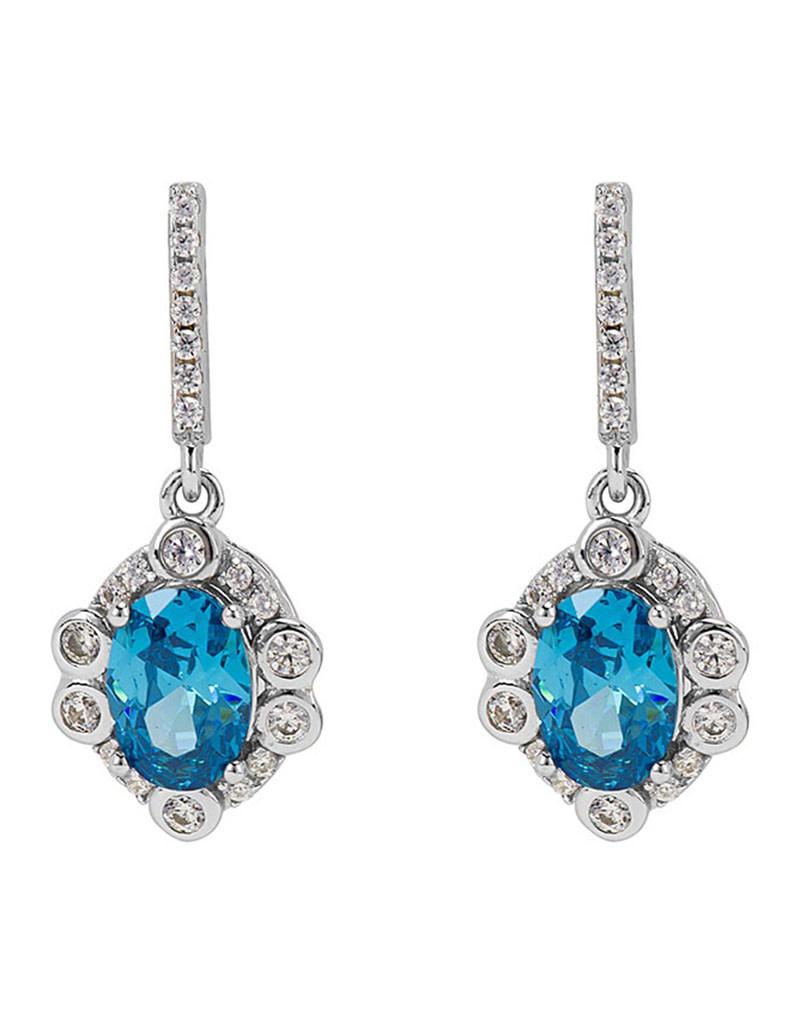 Blue CZ Rosette Design Earrings