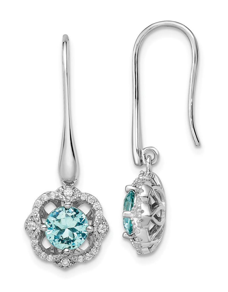Sterling Silver Aqua and White CZ Dangle Earrings