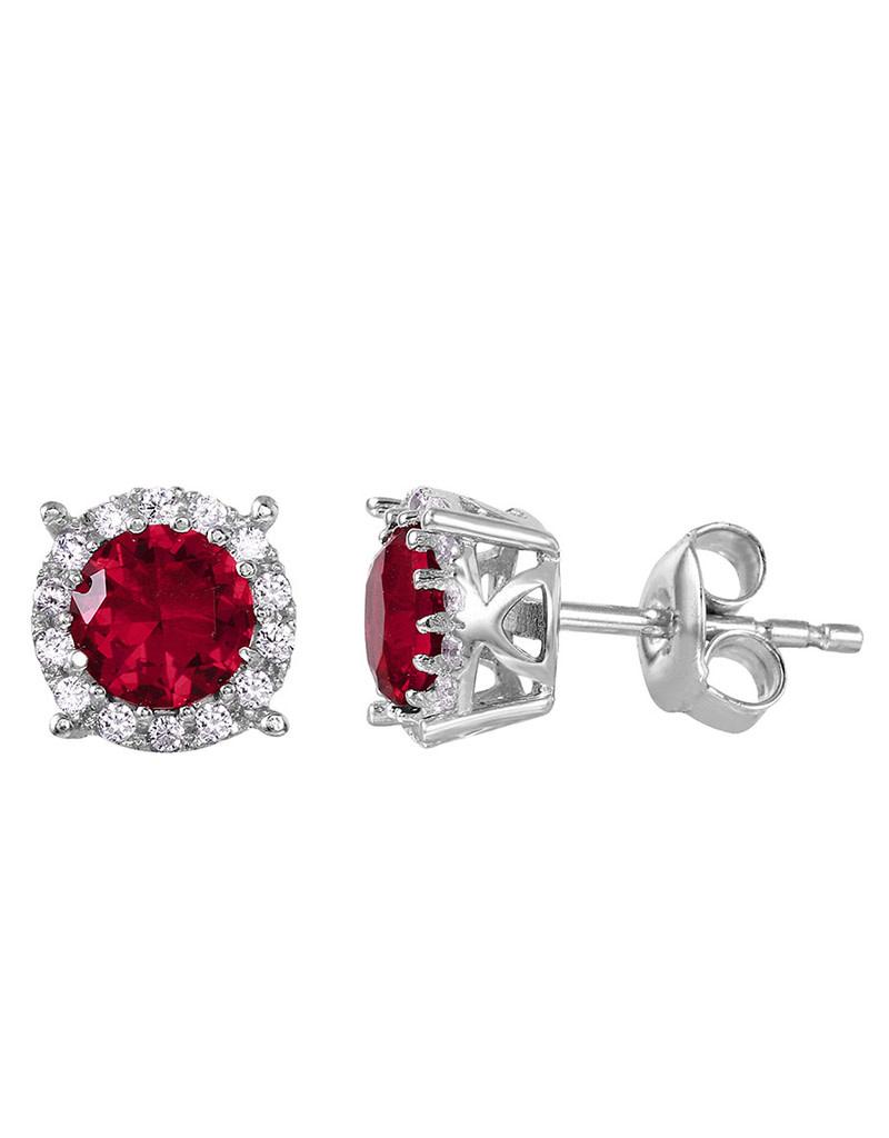 Red CZ Halo Stud Earrings