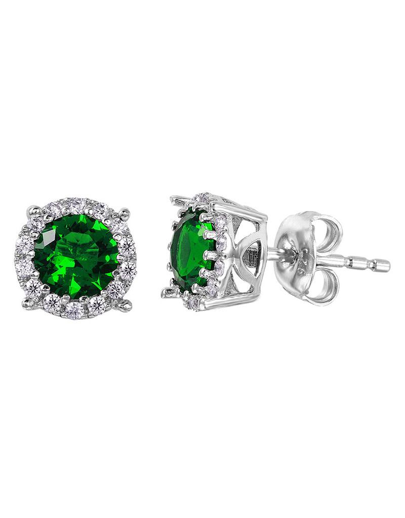 Green CZ Halo Stud Earrings
