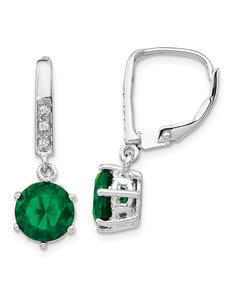 Emerald CZ Leverback Earrings