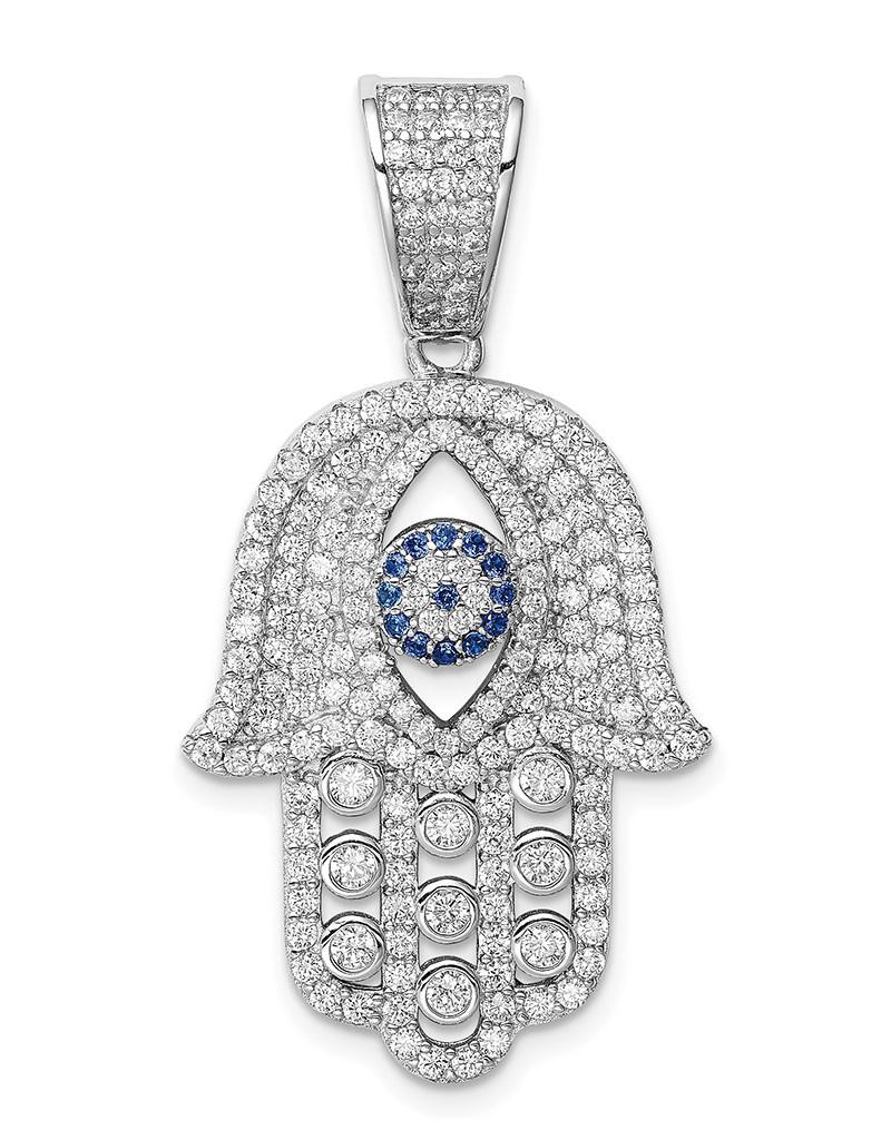 Blue Spinel and CZ Hamsa Pendant