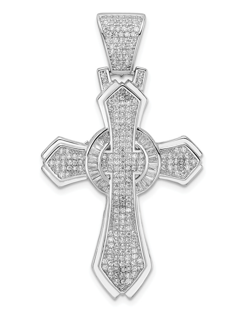 Polished CZ Cross Pendant