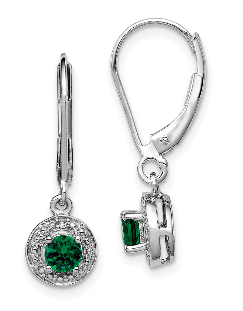 Round Created Emerald Earrings