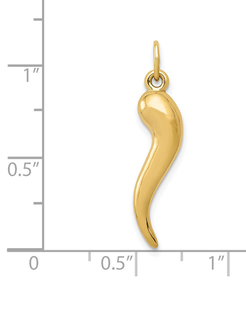 14k Gold Italian Horn Charm