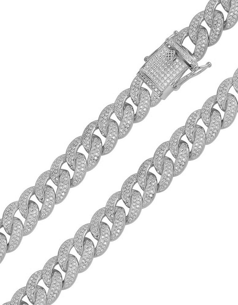 """11.7mm Sterling Silver Pave CZ Curb Necklace 20"""""""