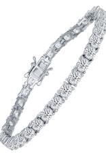 "Sterling Silver 5x4mm Oval CZ Tennis Bracelet 7.25"""