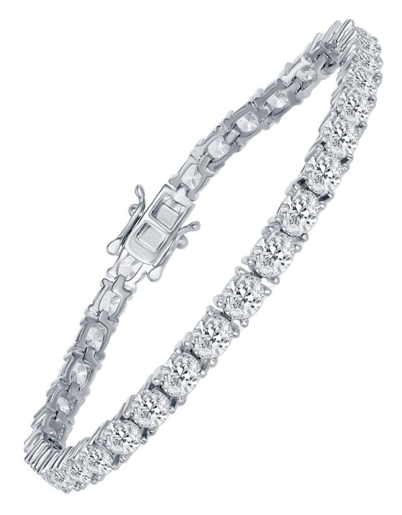 """5x4mm Oval CZ Tennis Bracelet 7.25"""""""