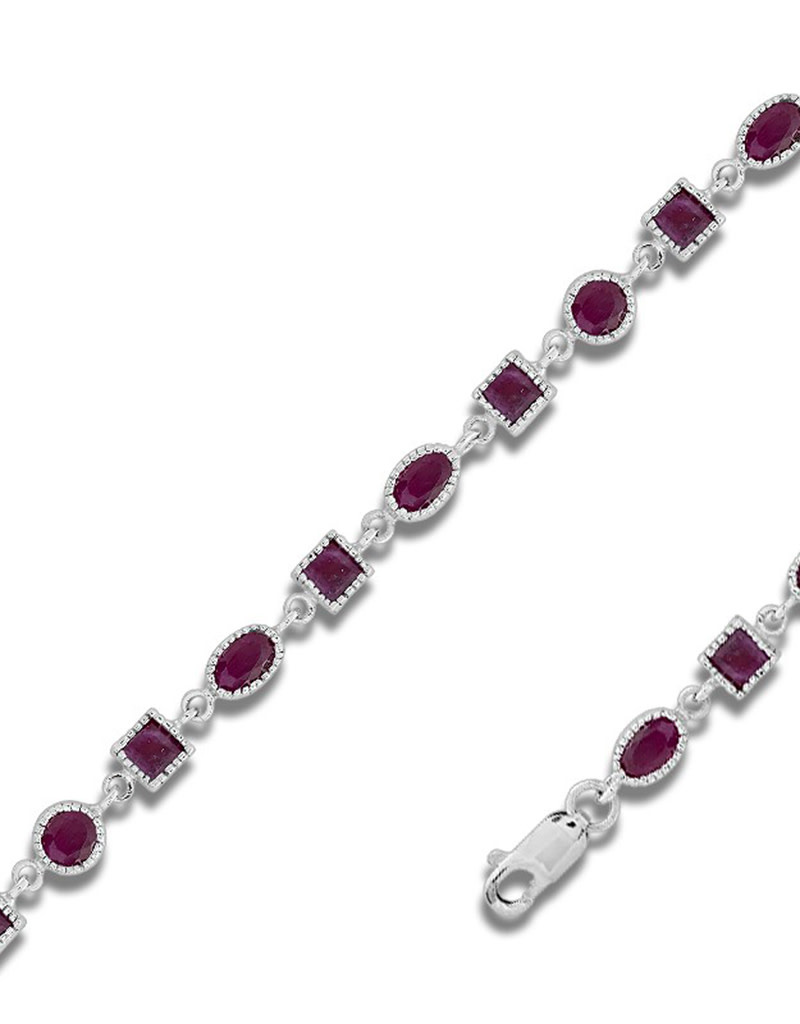 Oval and Square Ruby Bracelet