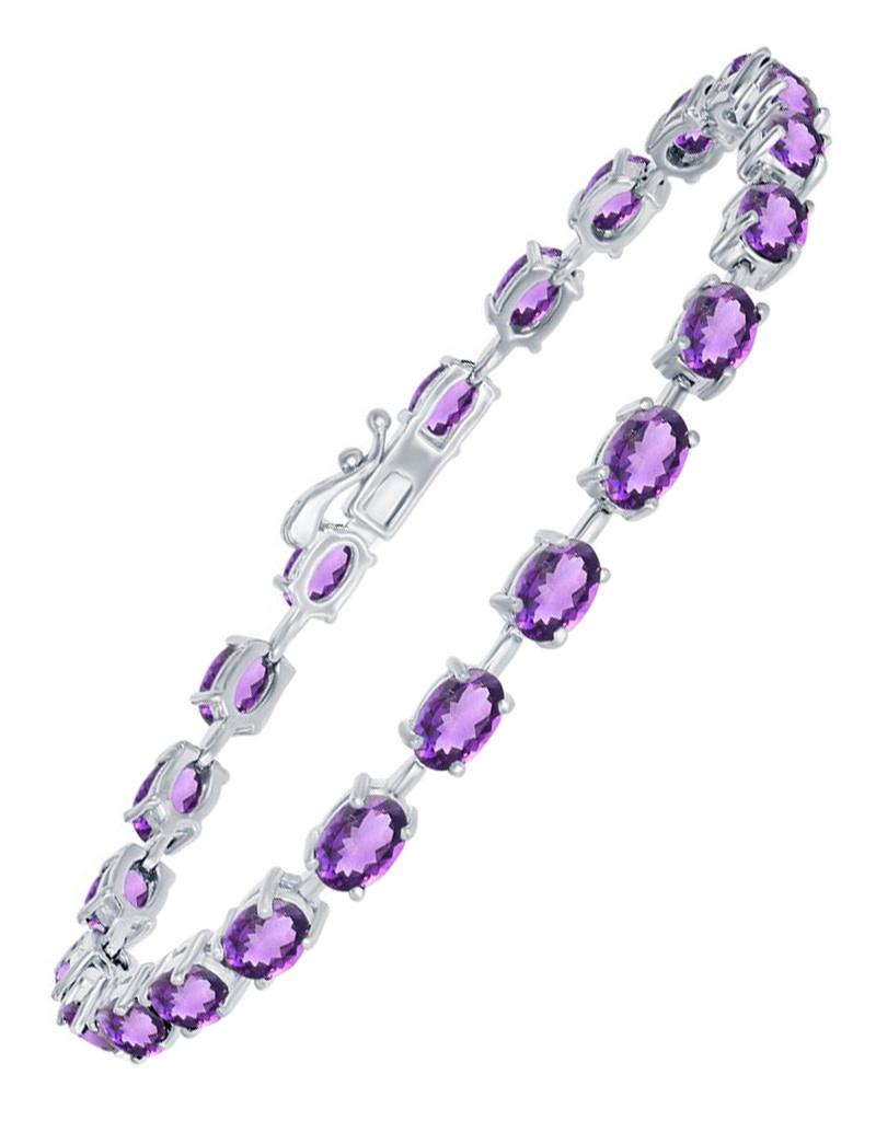 Oval Amethyst Tennis Bracelet