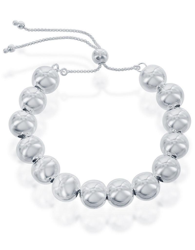 Sterling Silver 6mm Bead Bolo Bracelet
