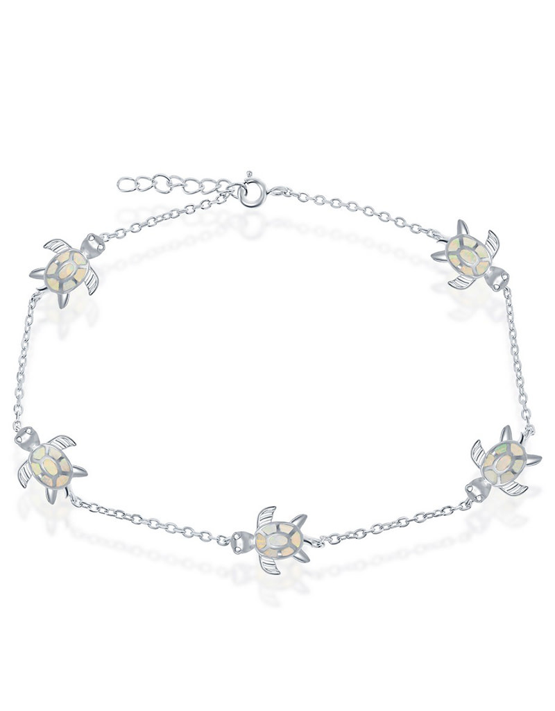 White Opal Turtle Anklet