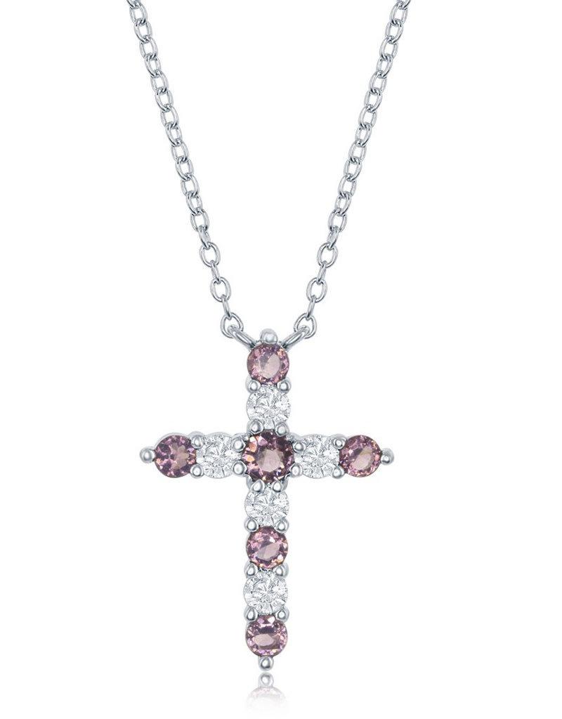 Sterling Silver Amethyst CZ Cross Necklace