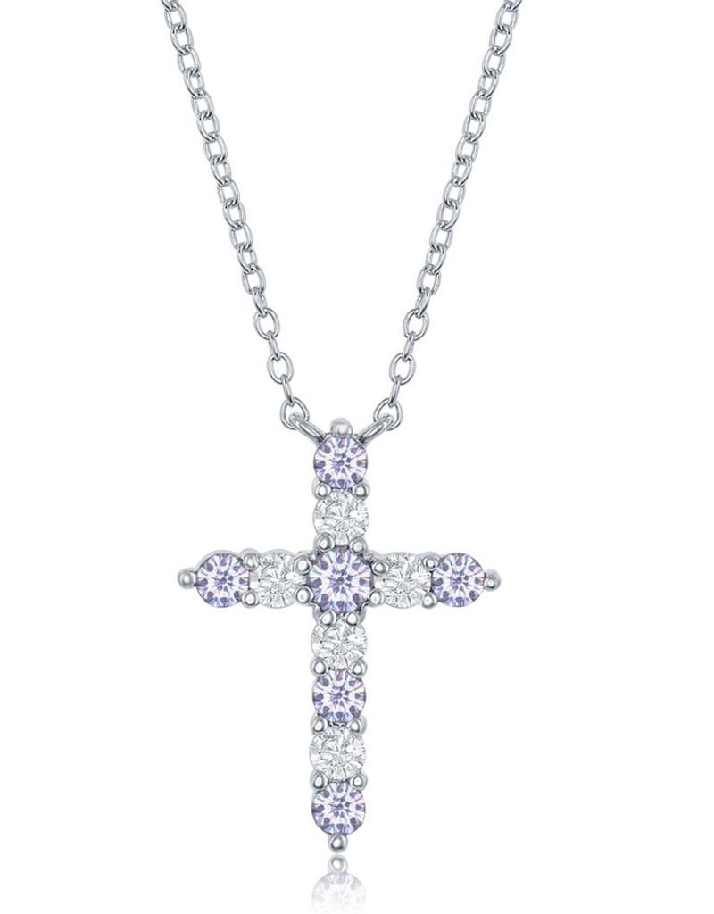 Lavender CZ Cross Necklace