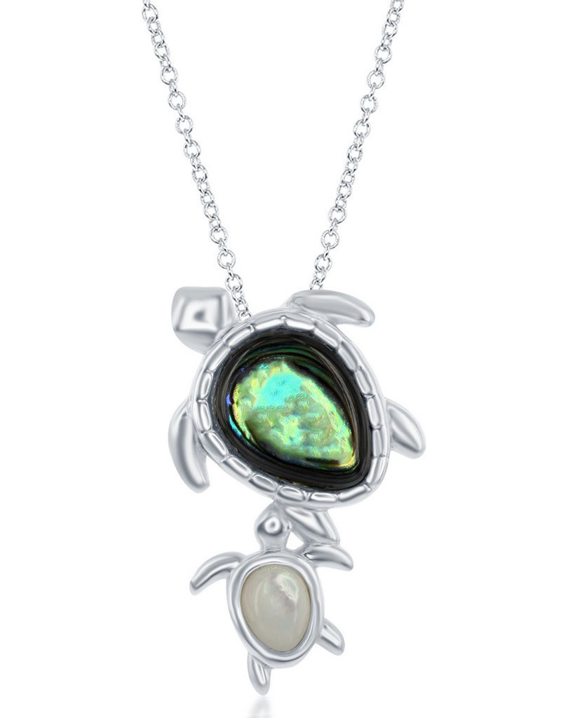 Sterling Silver Abalone and Mother of Pearl Turtle Necklace