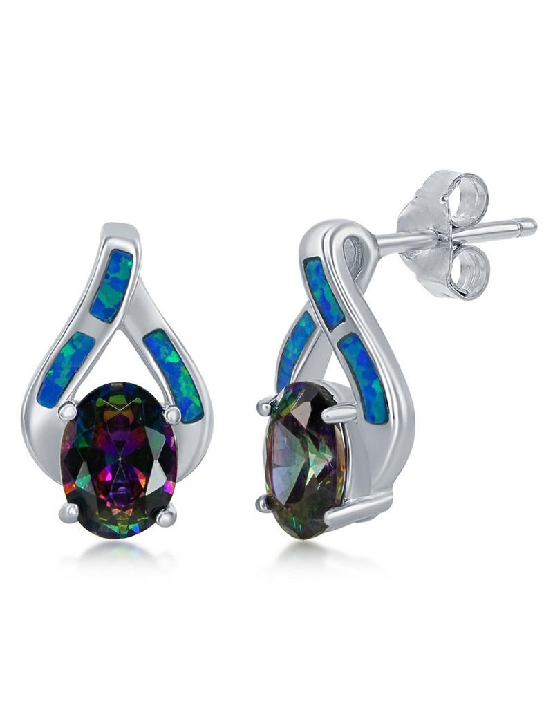 Opal and Mystic CZ Earrings