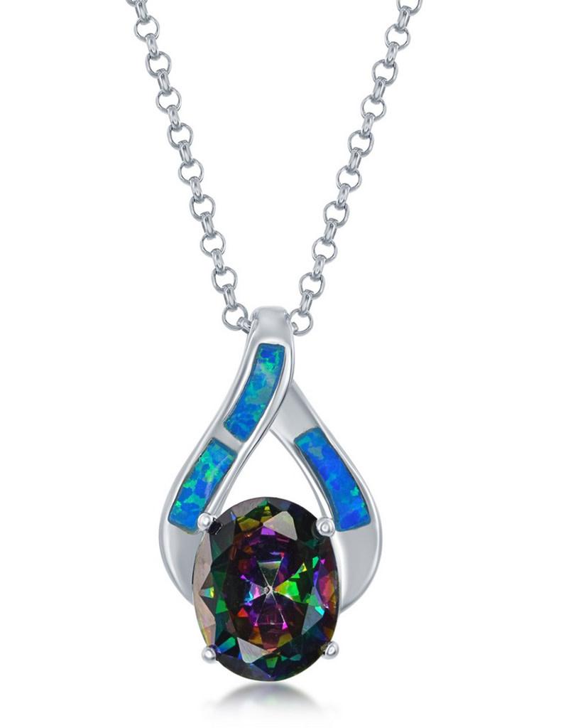Opal and Mystic CZ Nekclace