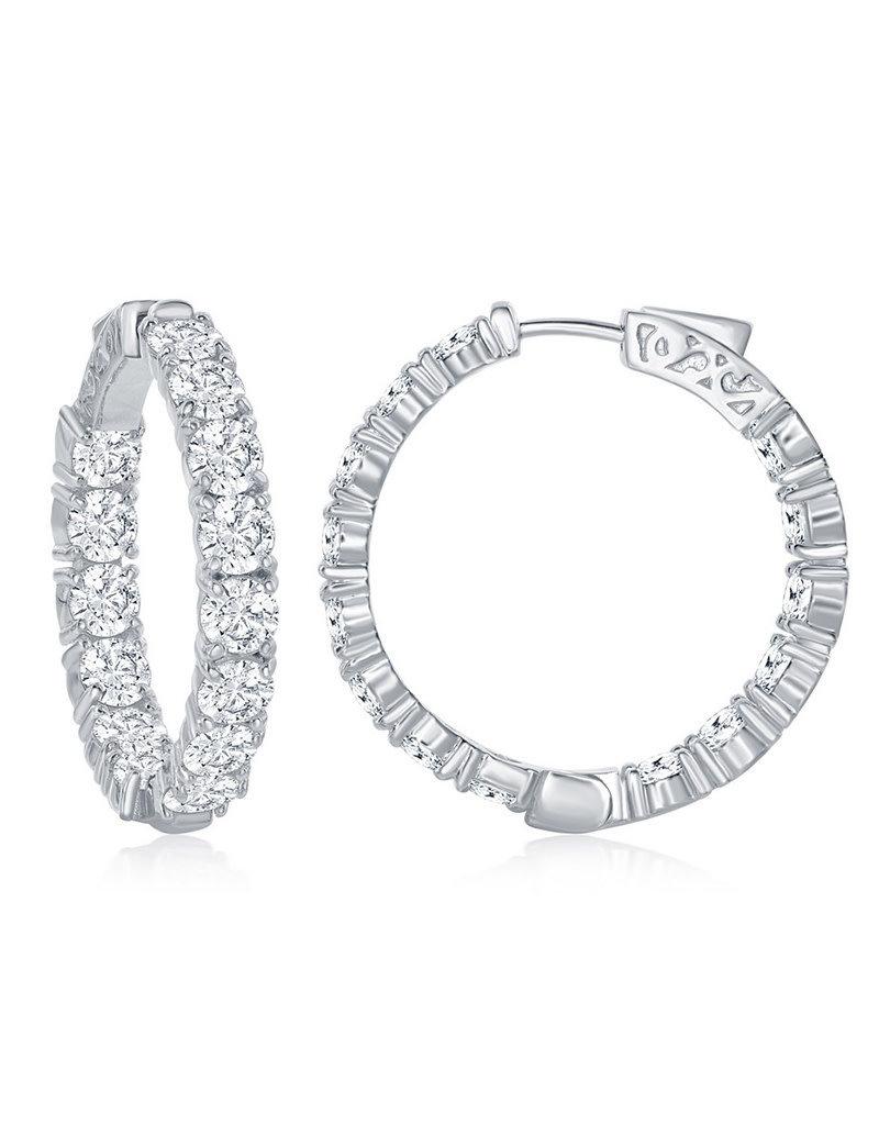 Sterling Silver 6mm CZ Hinged Hoop Earrings