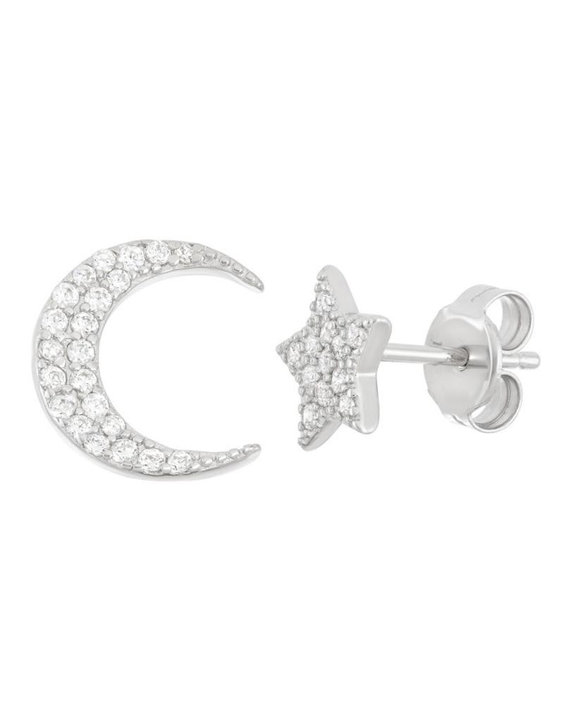 CZ Moon and Star Earrings
