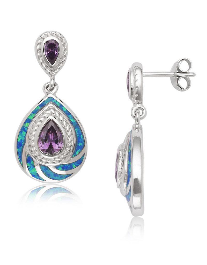 Opal Teardrop Dangle Earrings