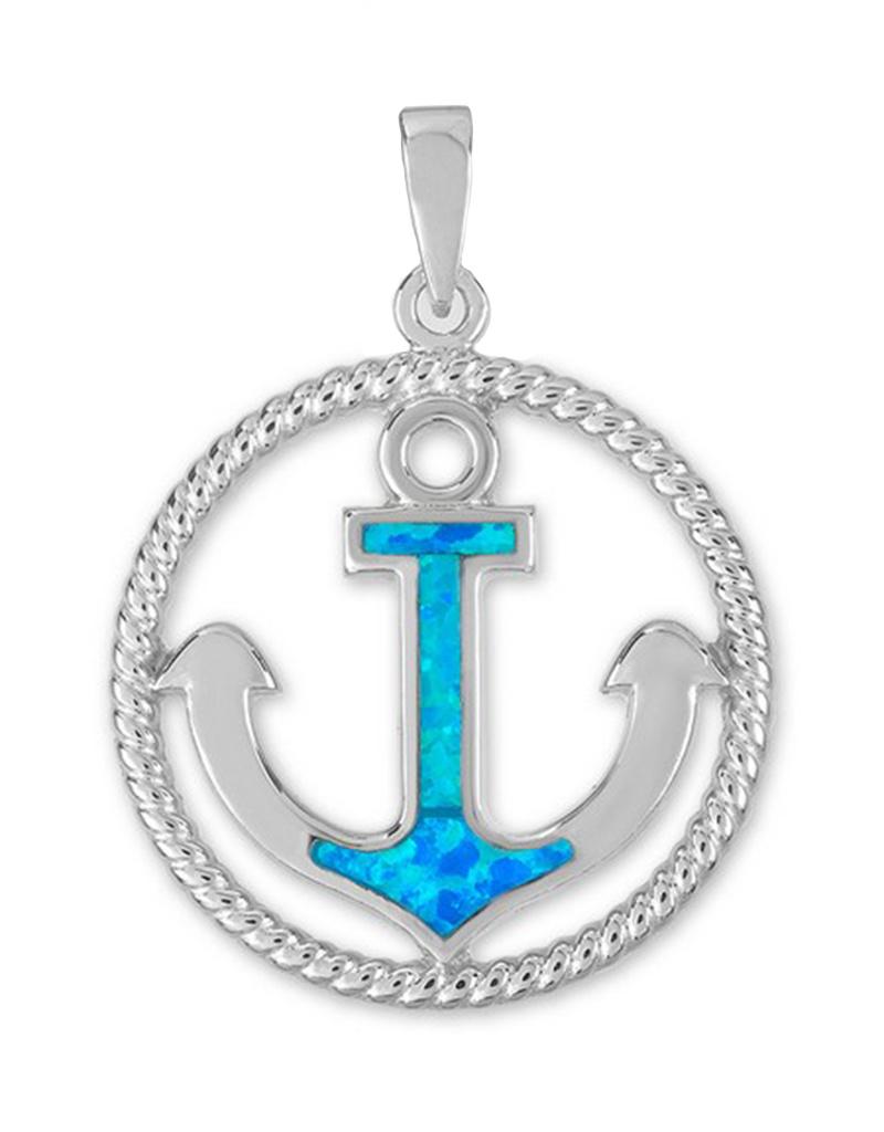 Opal Anchor Pendant