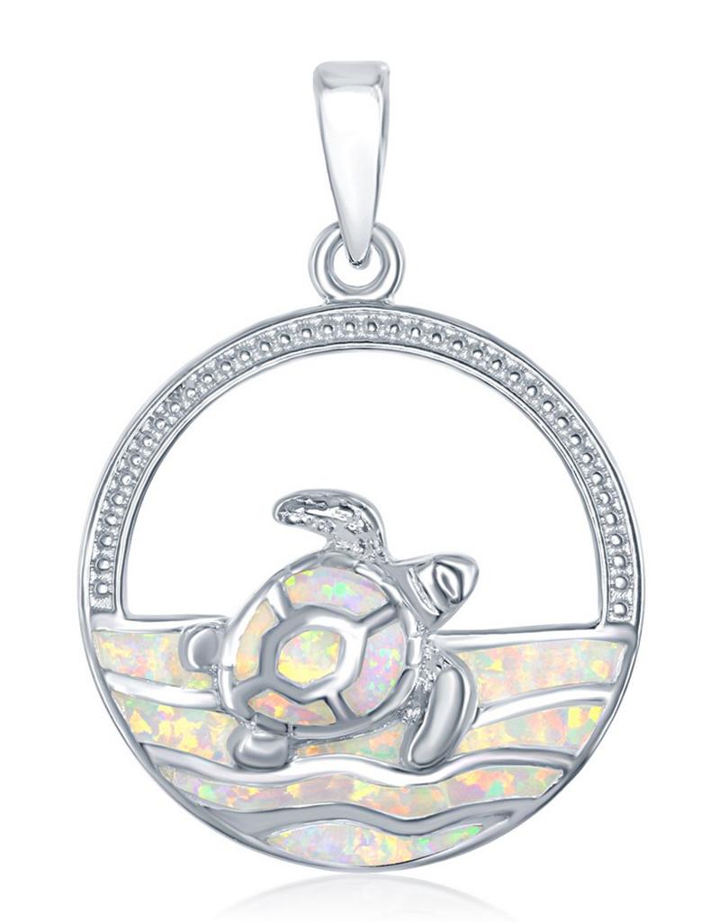 Opal Turtle Waves Pendant