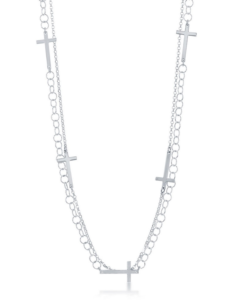 "2-Strand Cross Necklace 24"""